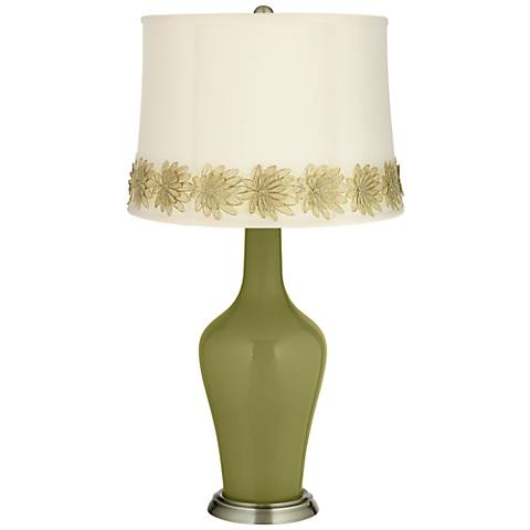 Rural Green Anya Table Lamp with Flower Applique Trim
