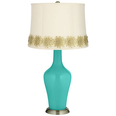 Synergy Anya Table Lamp with Flower Applique Trim