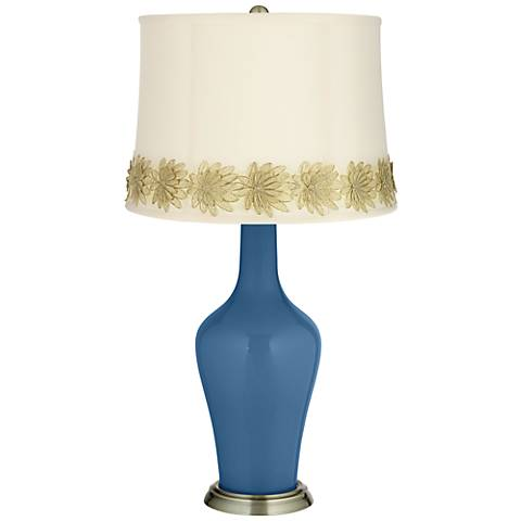 Regatta Blue Anya Table Lamp with Flower Applique Trim