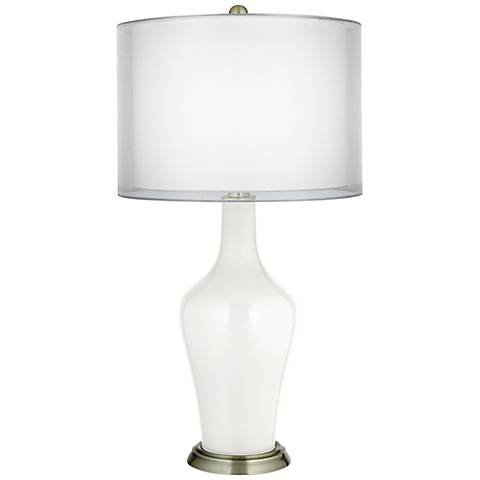 Winter White Double Sheer Silver Shade Anya Table Lamp