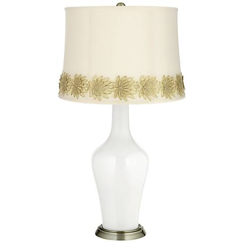 Winter White Anya Table Lamp with Flower Applique Trim