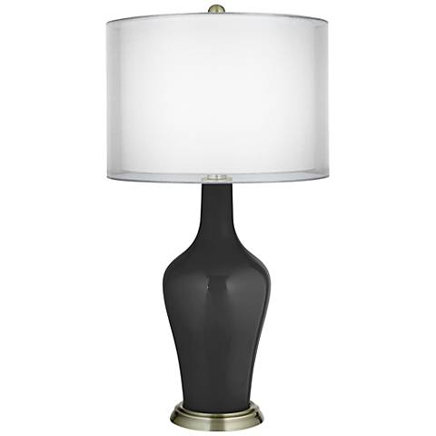 Tricorn Black Double Sheer Silver Shade Anya Table Lamp
