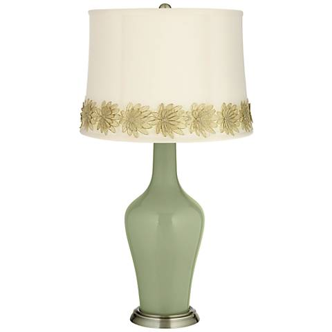 Majolica Green Anya Table Lamp with Flower Applique Trim