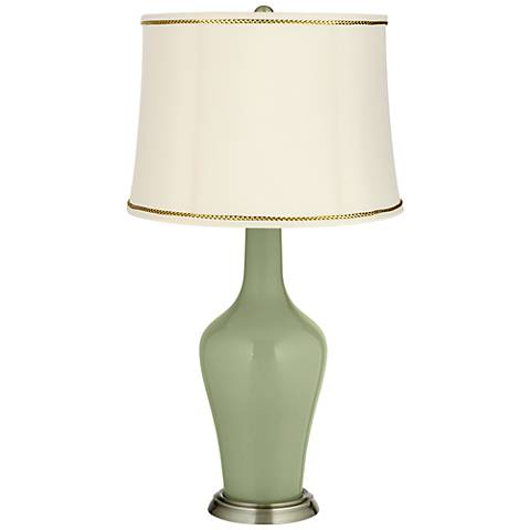 Majolica Green Anya Table Lamp with President's Braid Trim