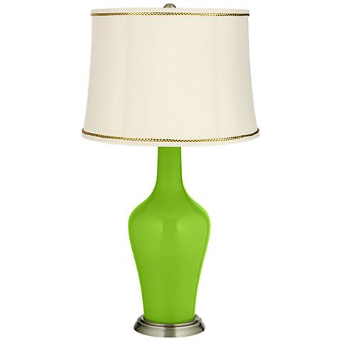 Neon Green Anya Table Lamp with President's Braid Trim