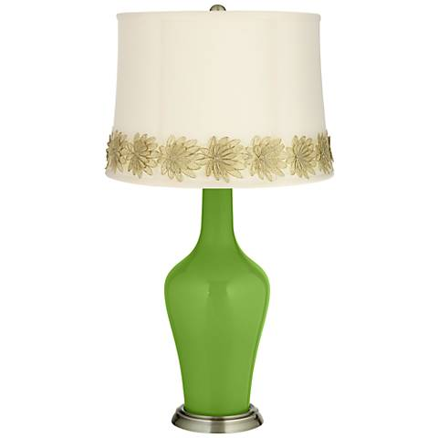 Rosemary Green Anya Table Lamp with Flower Applique Trim