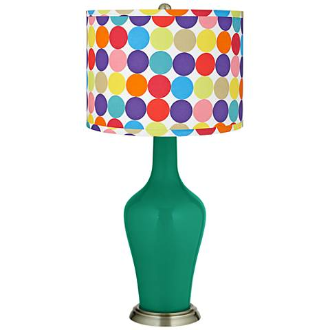 Leaf Multi-Color Circles Shade Anya Table Lamp