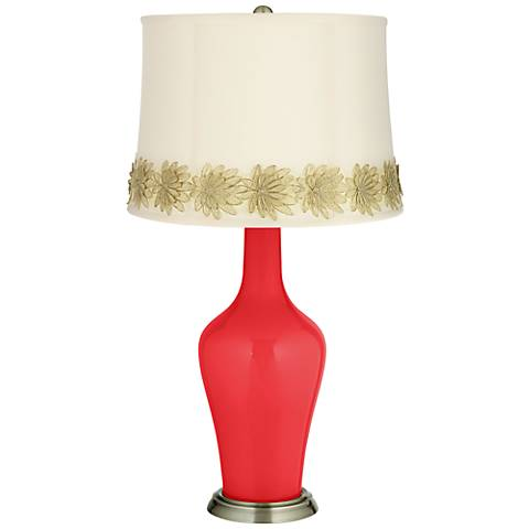 Poppy Red Anya Table Lamp with Flower Applique Trim