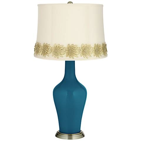Oceanside Anya Table Lamp with Flower Applique Trim