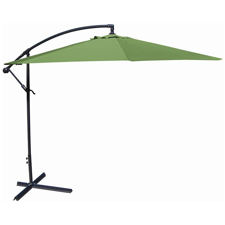 10-Foot Offset Umbrella in Olive Polyester