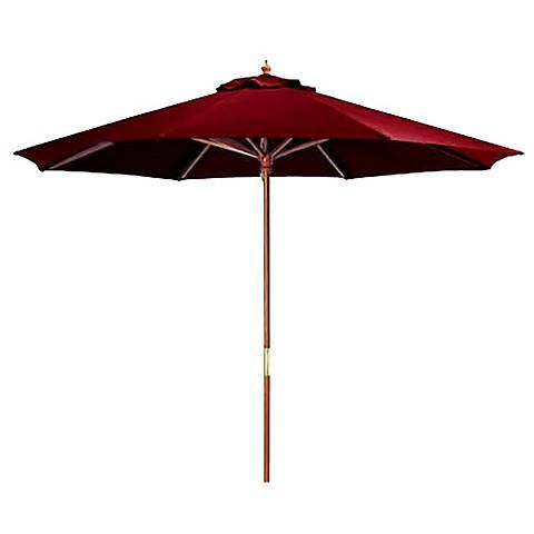 Burgundy Red 9' Round Wooden Market Umbrella
