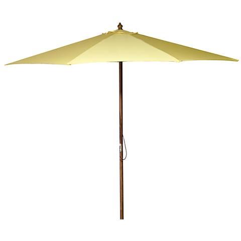 Canary Yellow 9' Round Wooden Market Umbrella