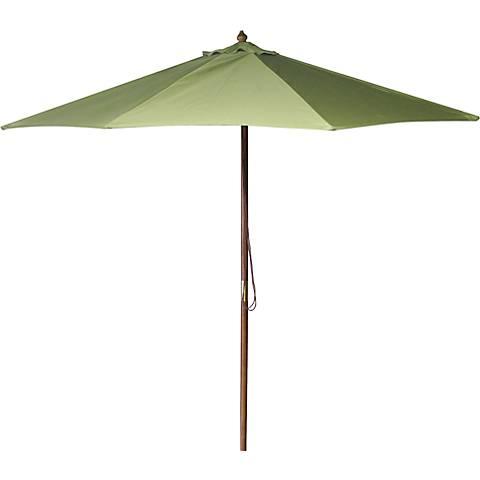 Olive 9' Round Wooden Market Umbrella