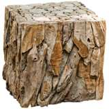 "Uttermost 19"" High Reclaimed Teak Wood Bunching Cube Table"