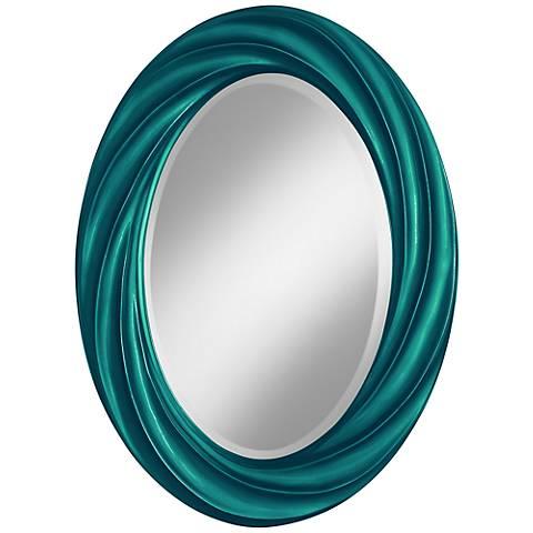 "Magic Blue Metallic 30"" High Oval Twist Wall Mirror"