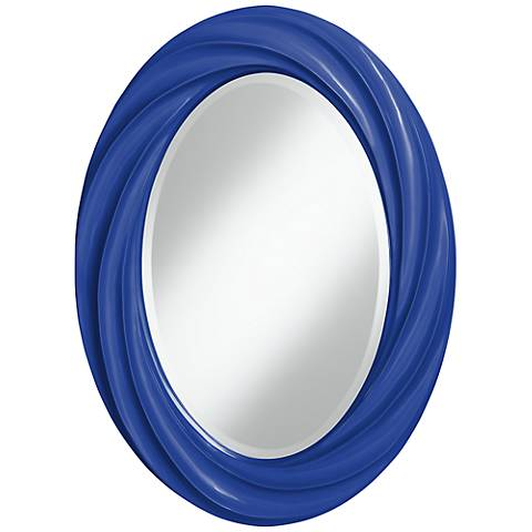 "Dazzling Blue 30"" High Oval Twist Wall Mirror"