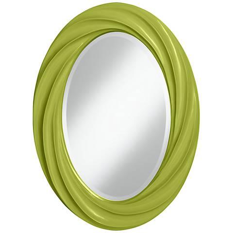 "Parakeet 30"" High Oval Twist Wall Mirror"