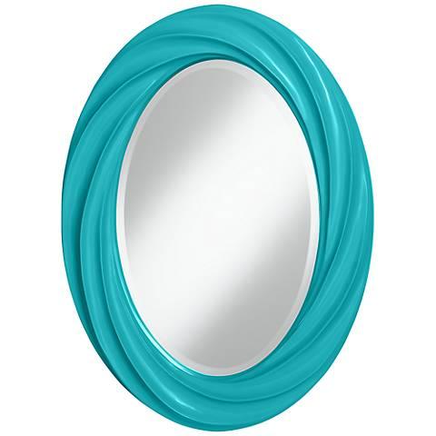 "Surfer Blue 30"" High Oval Twist Wall Mirror"