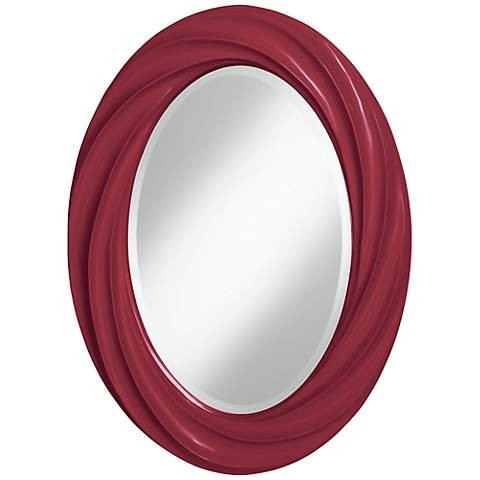 """Antique Red 30"""" High Oval Twist Wall Mirror"""