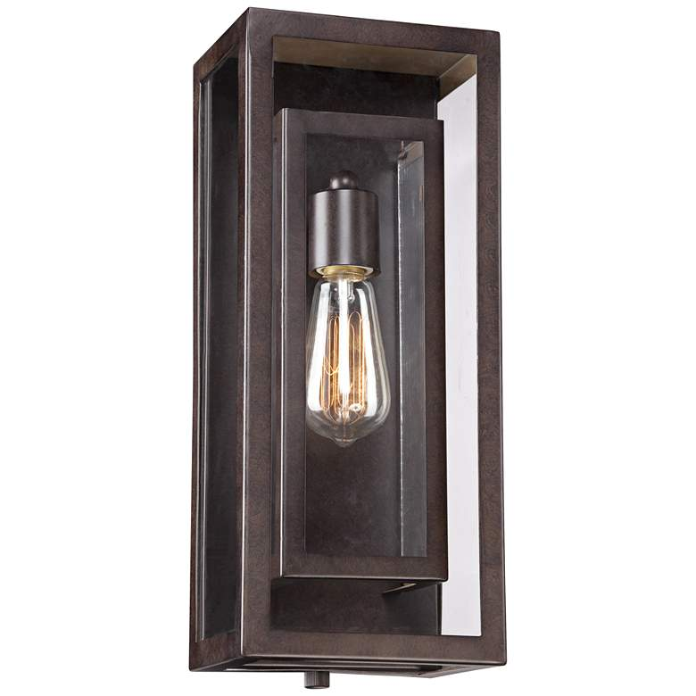 "Double Box 15 1/2"" High Clear Glass and Bronze Wall Light"