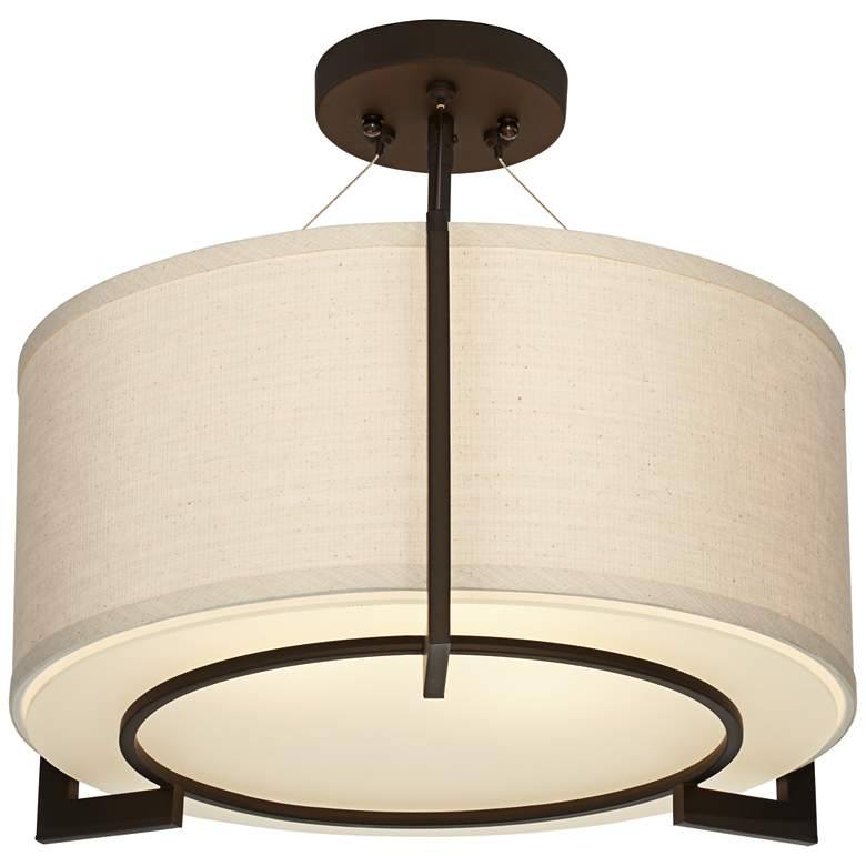 "Stinson 17 1/4"" Wide Linen and Bronze 3-Light Ceiling Light"