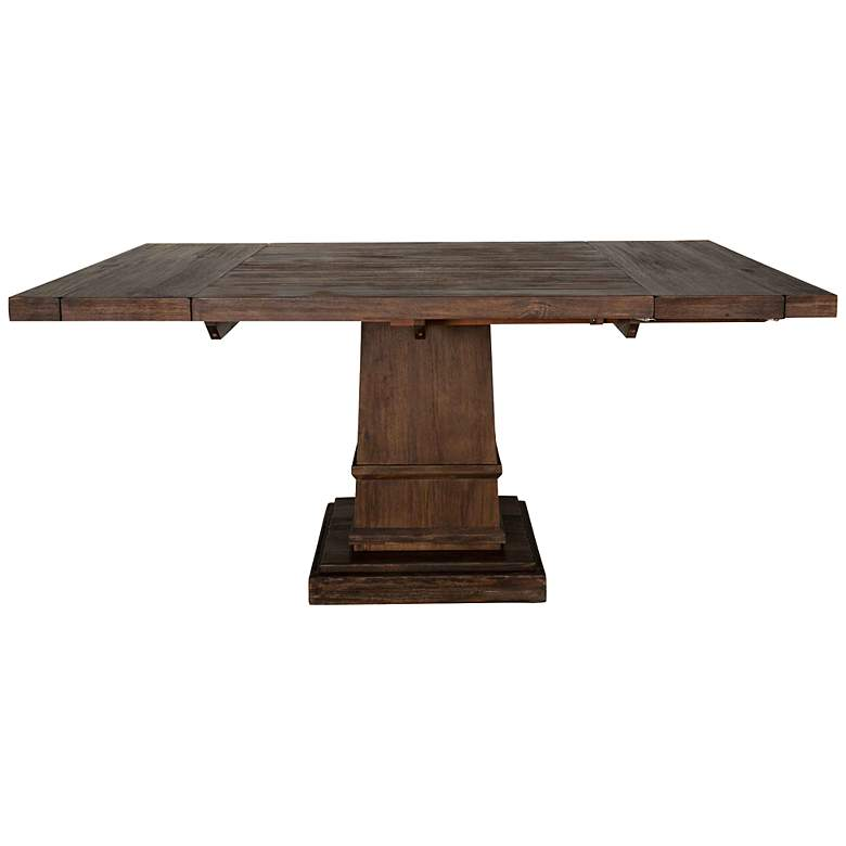 Hudson 44 Square Rustic Java Extension Leaf Dining Table 3x688