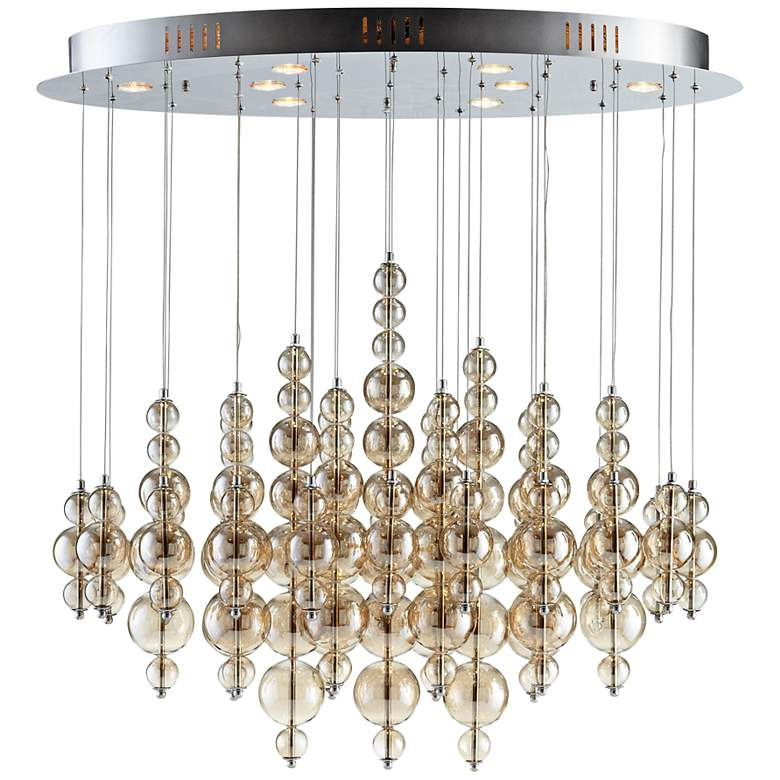 "Bubbles Cash 40"" Wide Smokey Brown Ceiling Light"