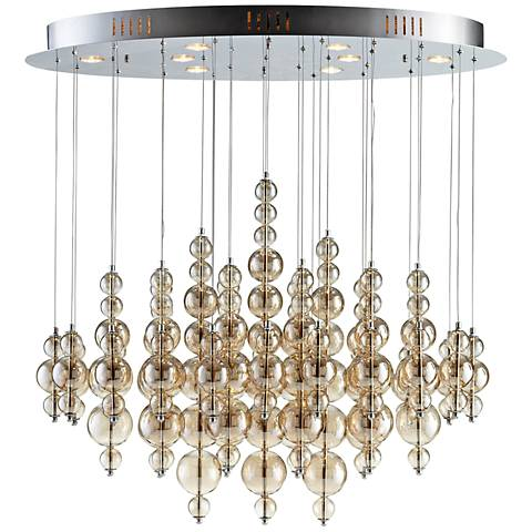 """Bubbles Cash 40"""" Wide Smokey Brown Ceiling Light"""