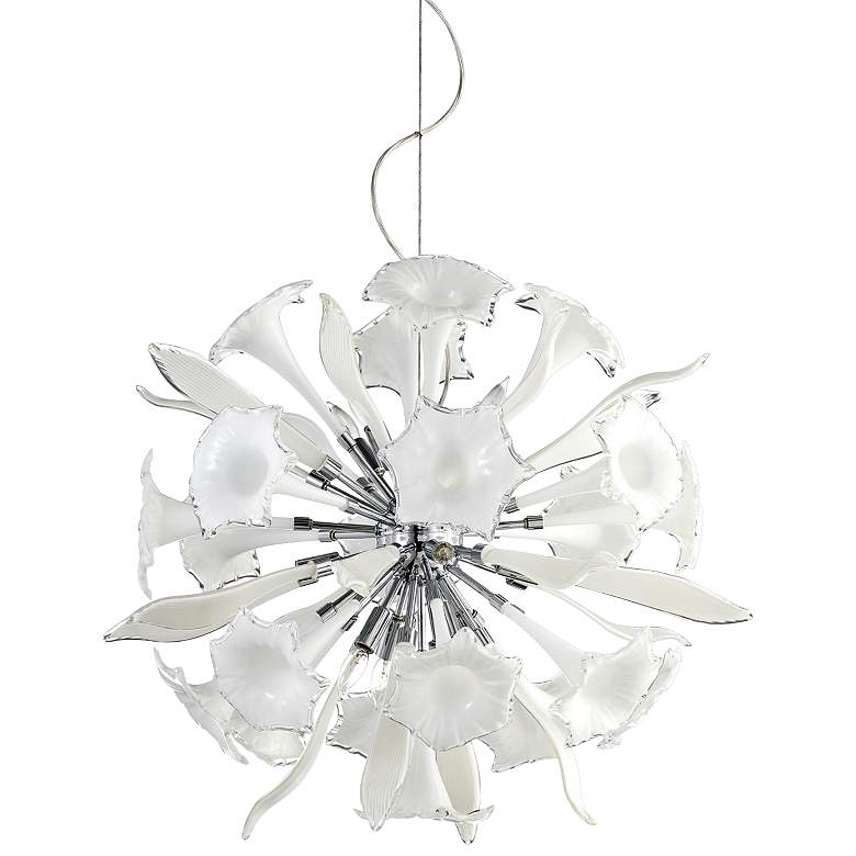 """Remy 33"""" Wide White Glass Pendant Light"""