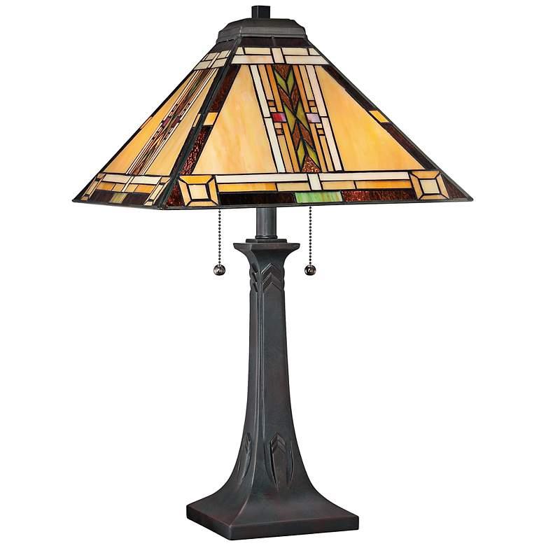 Quoizel Mission Tiffany Art Glass Table Lamp