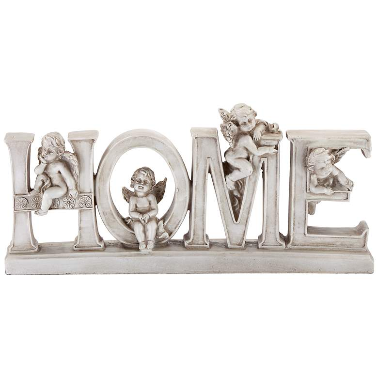 """Home 12"""" Wide Decorative Shelf Sculpture with Angels"""