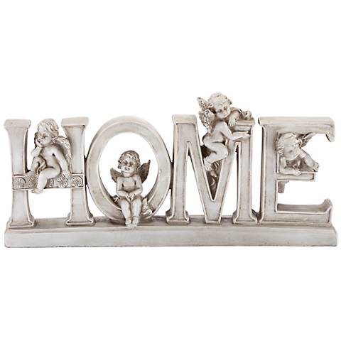 "Home 12"" Wide Decorative Shelf Sculpture with Angels"