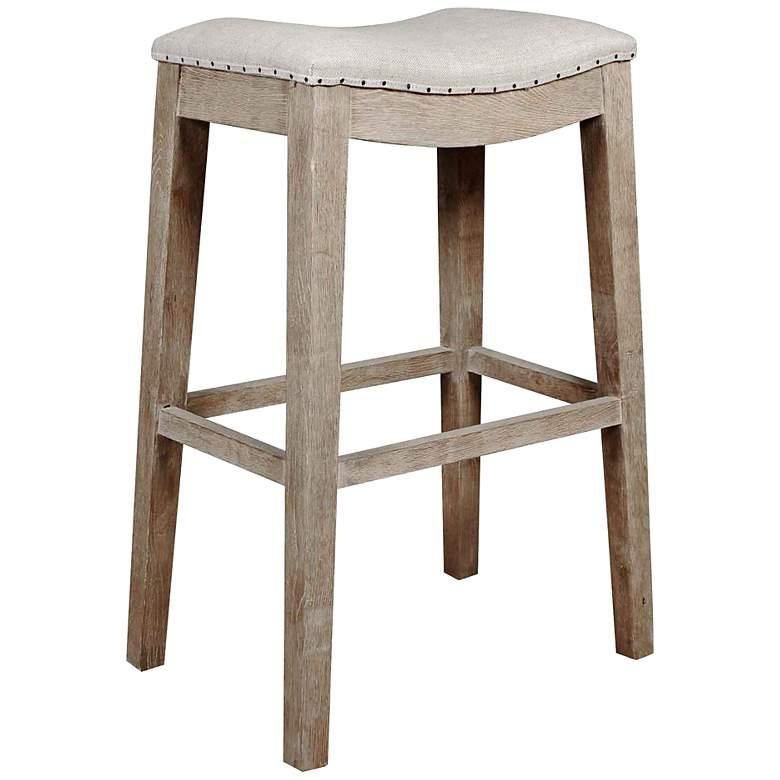 "Harper 31"" Stone Wash Saddle Seat Bar Stool"