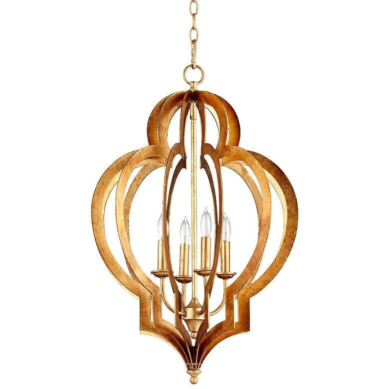 """Vertigo 19"""" Wide Gold Leaf Chandelier"""