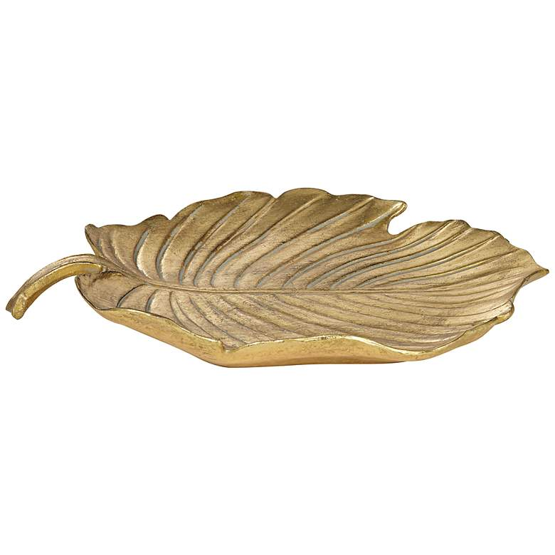 """Gold Leaf Shaped 12 1/4"""" Wide Decorative Tray"""