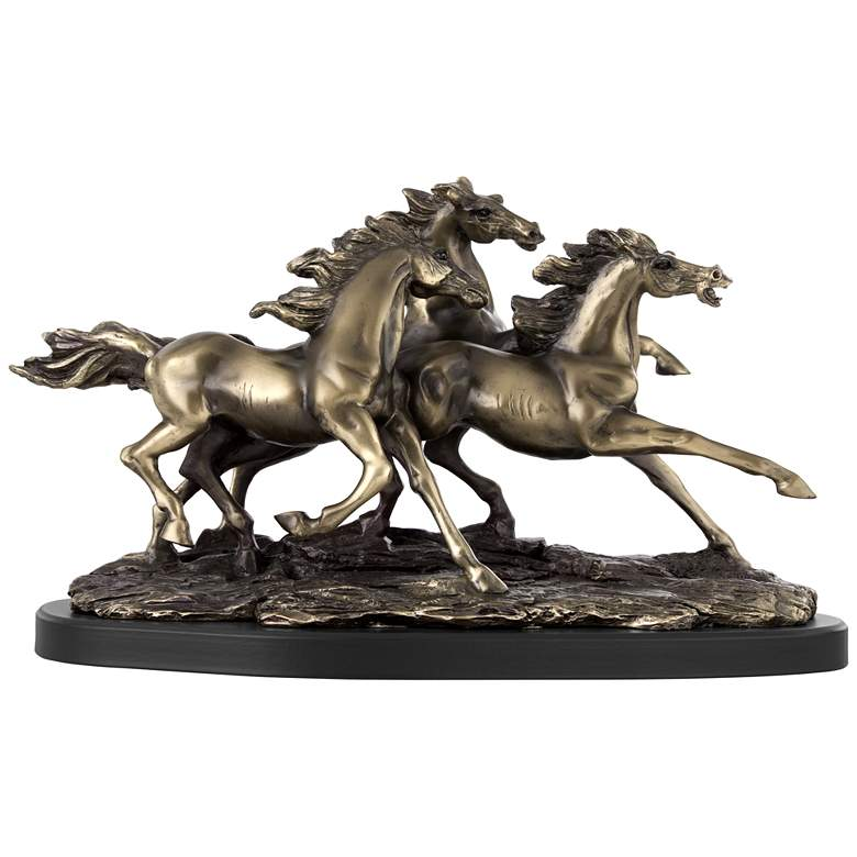 """Galloping Western Stallions 14"""" Wide Table Sculpture"""