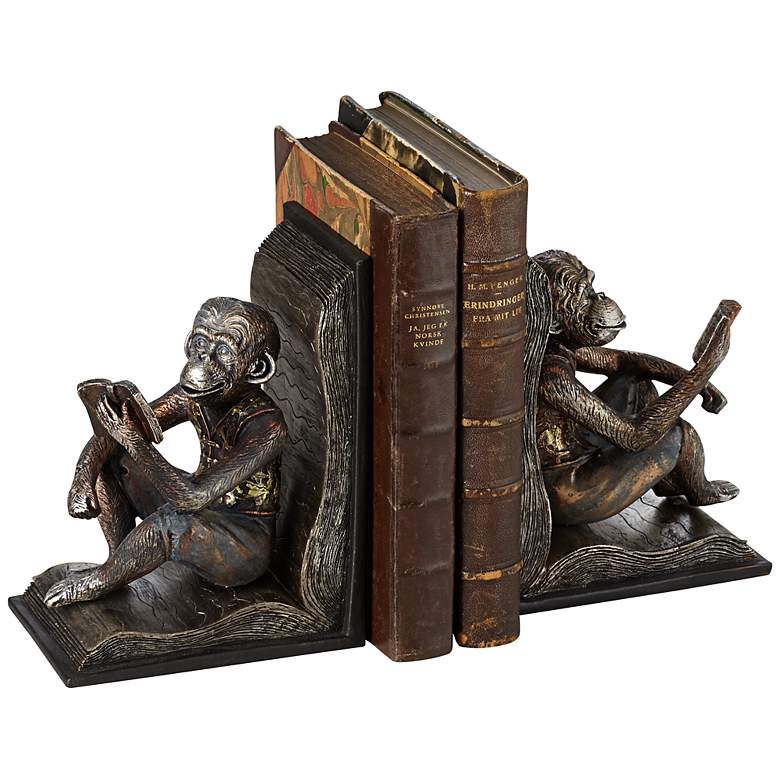 "Studious Reading Monkeys 7 1/2"" High Bookends Set"