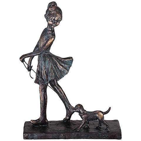 """Little Girl Walking Dog 10 1/2"""" High Sculpture"""