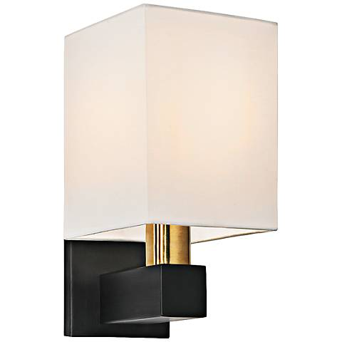"Cubo 11 1/2""H Natural Brass and Black Wall Sconce"