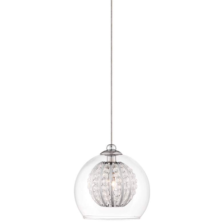 "Possini Euro Onida 4 1/4""W Clear Crystal Glass Mini Pendant"