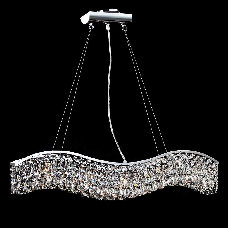 """James R. Moder Impact Wave 36"""" Wide Imperial Crystal Pendant"""