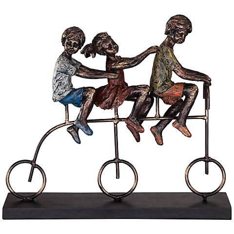 "Children Riding Bike 12 3/4"" Wide Sculpture"