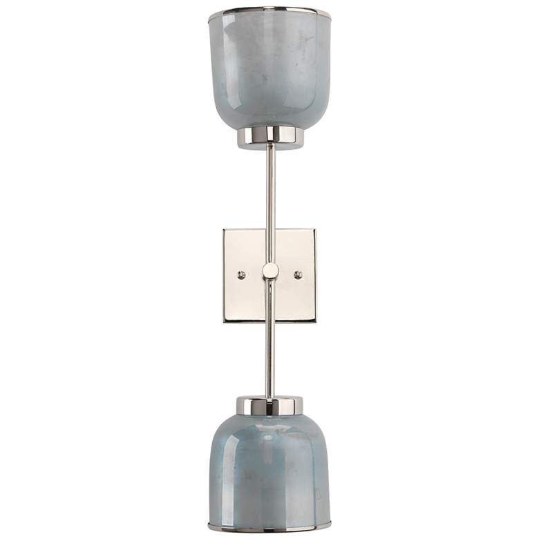"""Jamie Young Vapor 24 3/4"""" High Opal and Nickel Double Wall Sconce"""