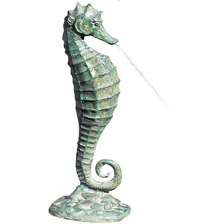 "Seahorse 19"" High Verdigris Bronze Spitter Pond Fountain"