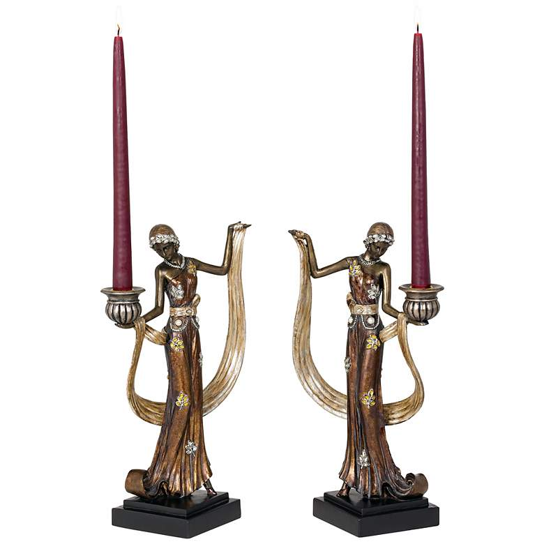 """Art Deco Lady 14"""" High Taper Candle Holders - Set of 2"""