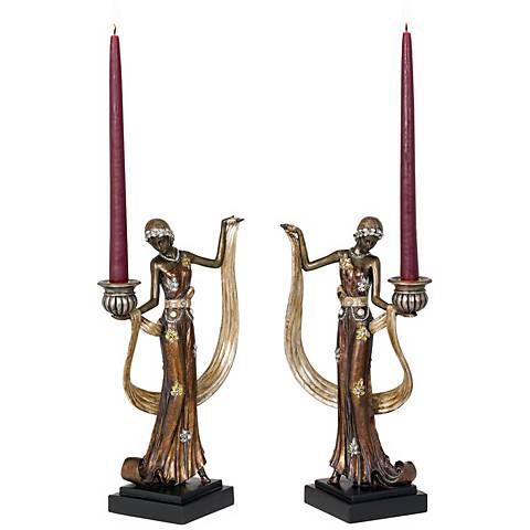 Art Deco Lady Taper Candle Holder Set of 2