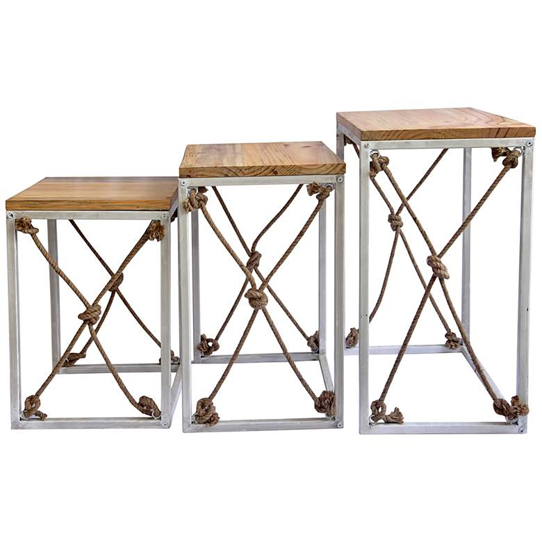 St. Augustine Pine Wood Nesting Tables Set of 3