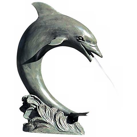 "Large 28"" High Single Dolphin Pond Fountain Accent"