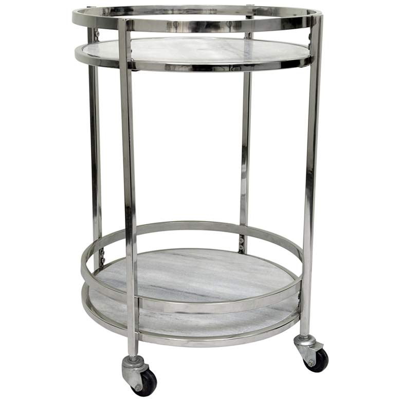 "Crestview Collection Hadley 19"" Wide Marble Bar Cart"