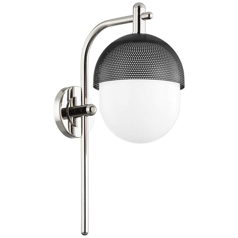 """Hudson Valley Nyack 19 1/2"""" High Polished Nickel and Black Wall Sconce"""
